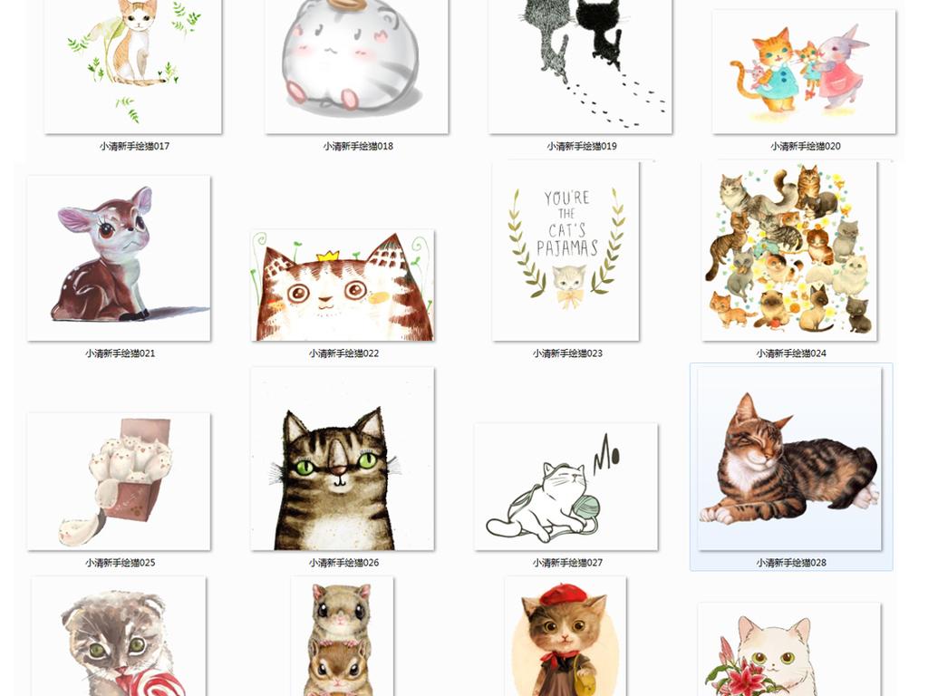 宠物猫                                          手绘