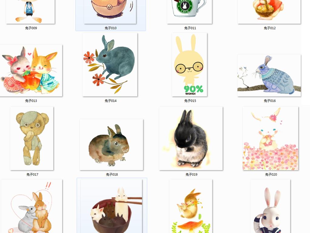胖兔子兔神嫦娥小动物儿童节素材可爱海报卡通海报手绘