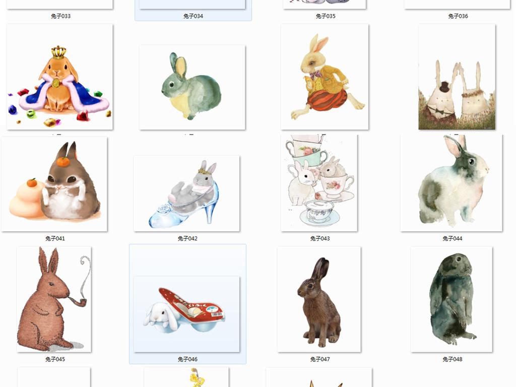 卡通海报手绘兔子动漫兔子可爱卡通小白兔卡通人物大全白兔卡通白兔
