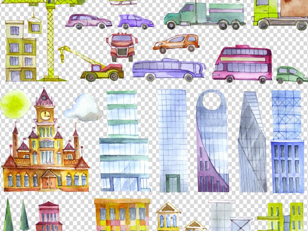 我图网提供独家原创手绘建筑房子p