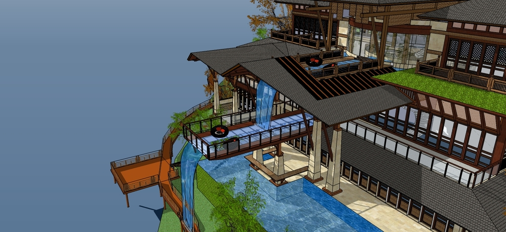 东南亚风格特色别墅屋顶水池跌水设计