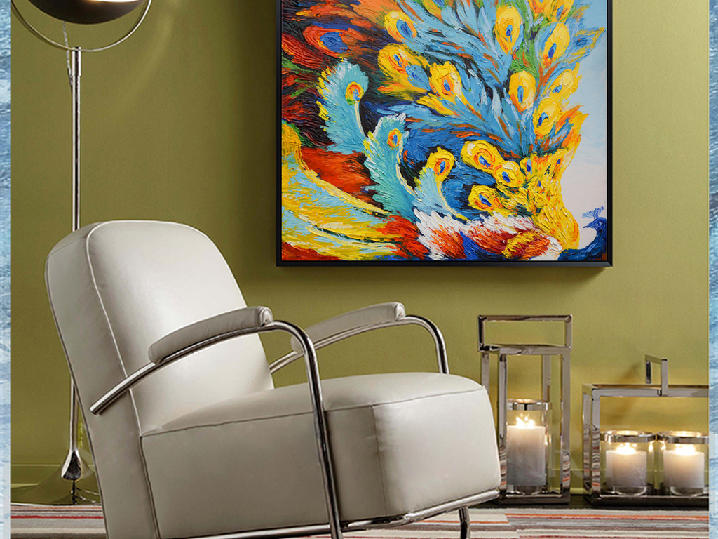 彩羽孔雀纯手绘立体装饰艺术油画