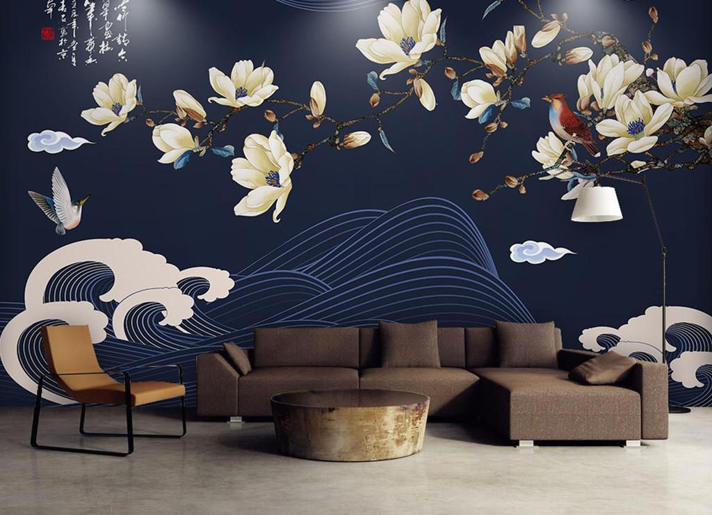 新中式手绘玉兰花鸟电视背景墙玉堂富贵雅趣