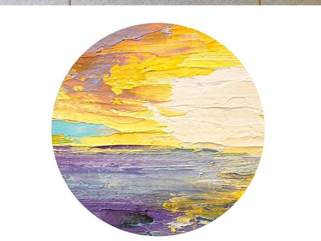 现代抽象手绘油画意境大海天空北欧装饰画