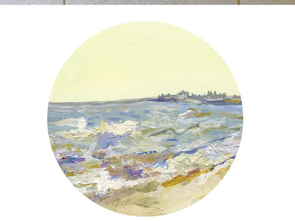 现代北欧抽象大海风景手绘油画欧式装饰画