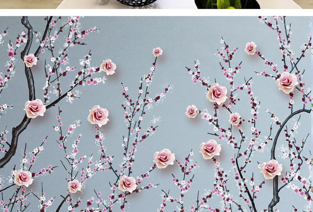 新中式手绘花鸟背景墙工笔花鸟电视背景墙