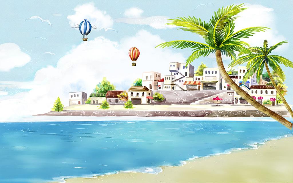 背景墙|装饰画 电视背景墙 地中海背景墙 > 手绘海滩风景椰树热气球地