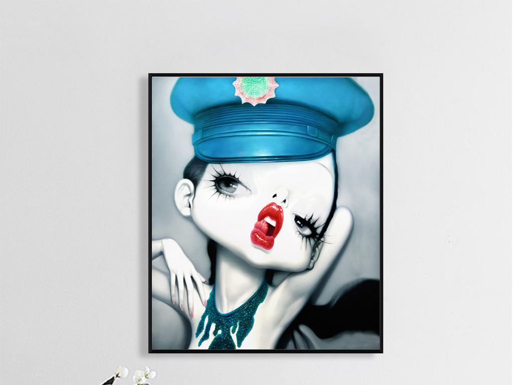 北欧复古个性卡通手绘人物画性感女孩魅力红唇