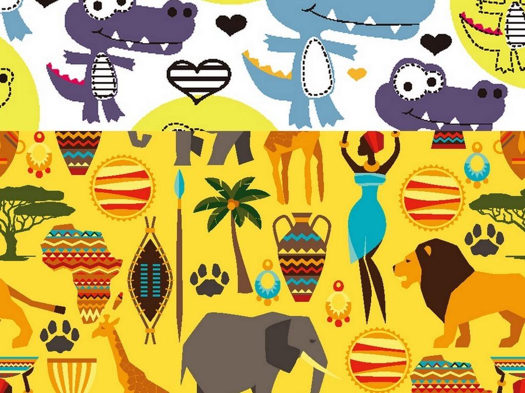 100款彩色卡通小动物无缝拼接背景eps图片