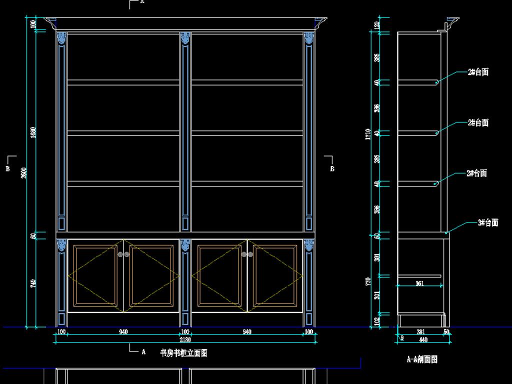 全屋家具柜子设计cad图纸平面图下载(图片0.79mb)__全