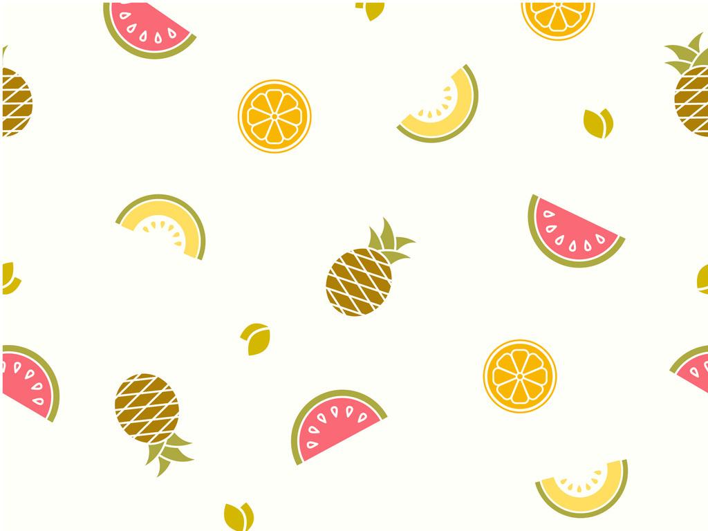 手绘水彩水果西瓜菠萝哈密瓜无缝印花