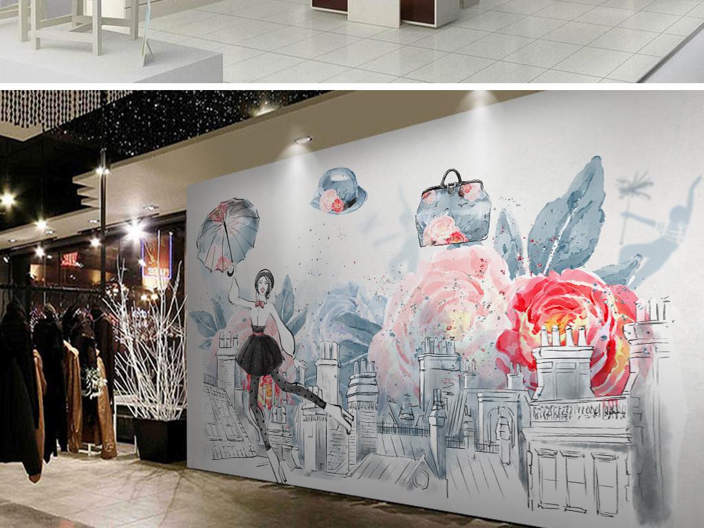 手绘建筑美女服装店工装背景墙壁画