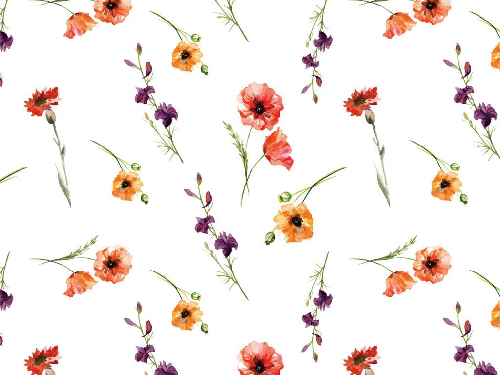 手绘水彩植物花卉花纹无缝印花图片下载ai素材-植物