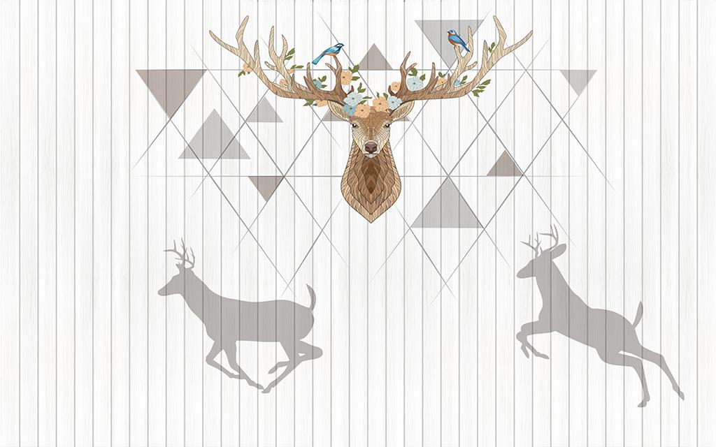 背景墙|装饰画 电视背景墙 手绘电视背景墙 > 梅花鹿花鸟鹿剪影北欧