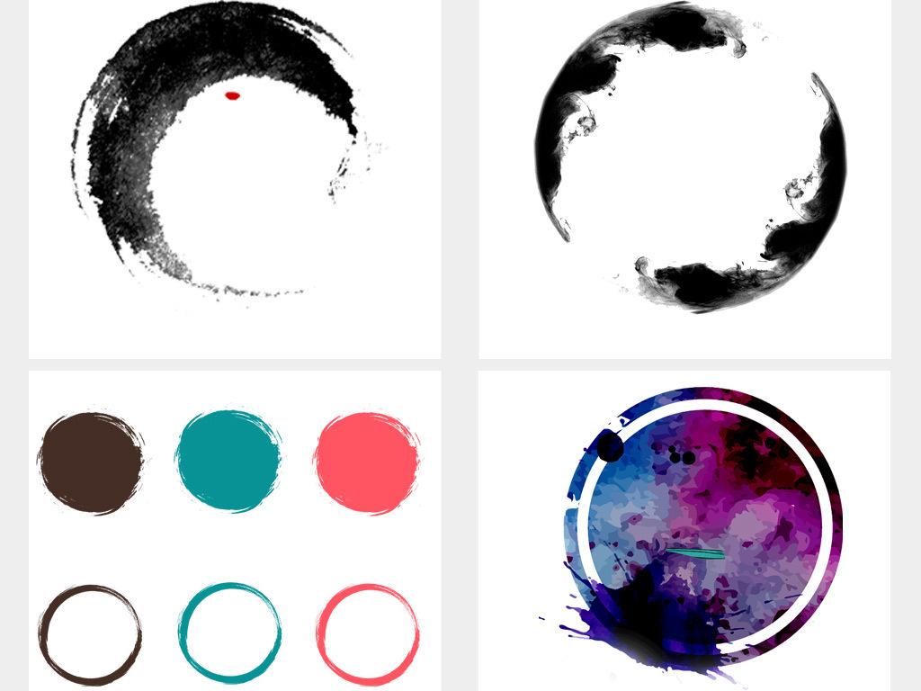 水墨中国风圆环圆形边框圆圈背景素材