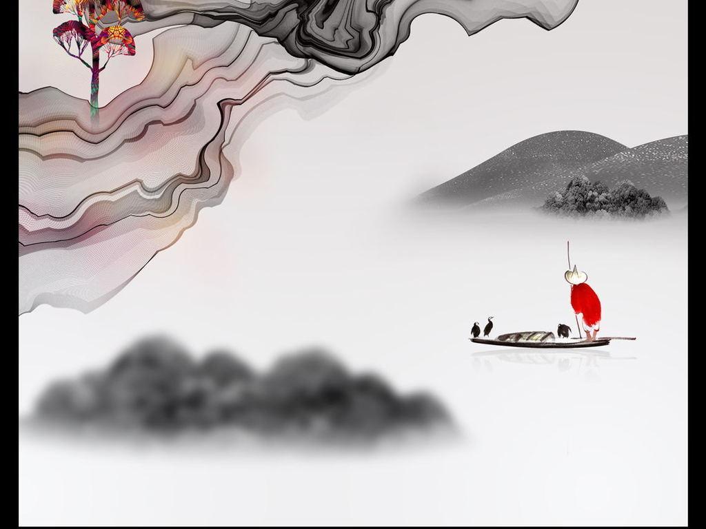 新中式客厅装饰画禅意水墨山水国画玄关壁画图片