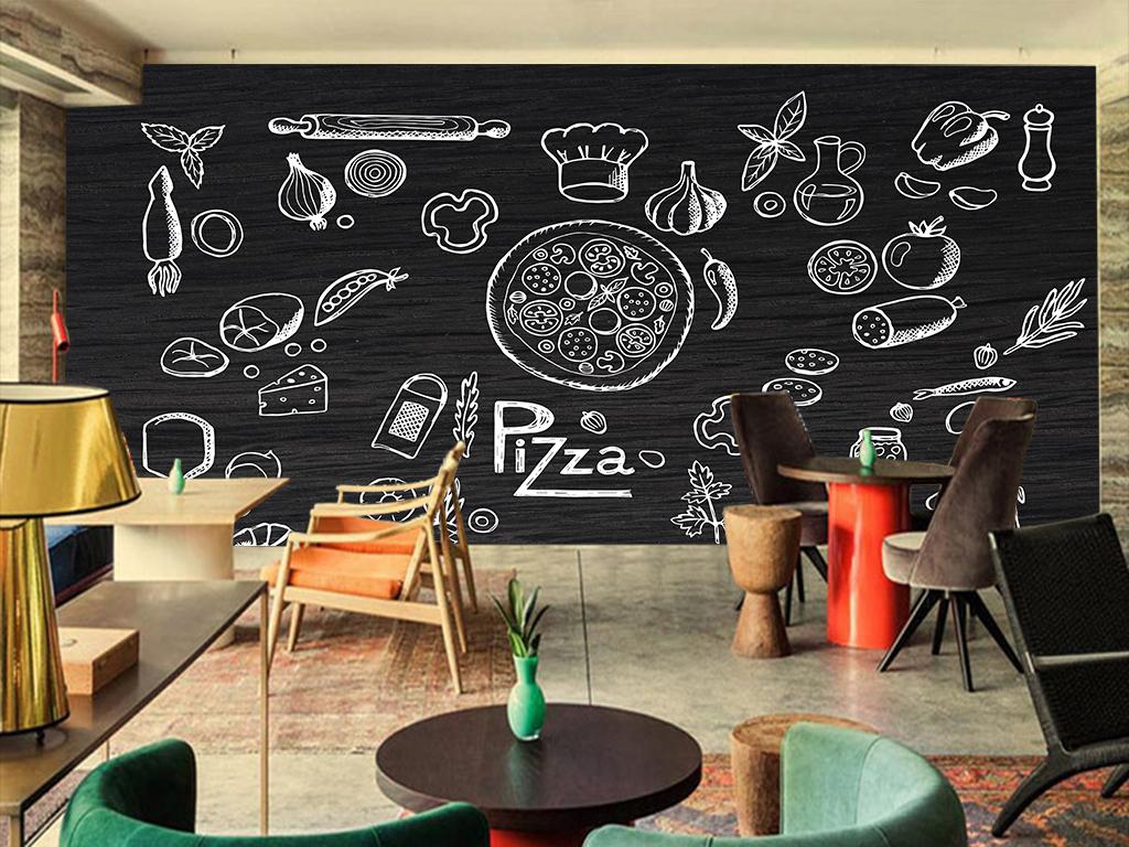 西餐手绘美食背景墙