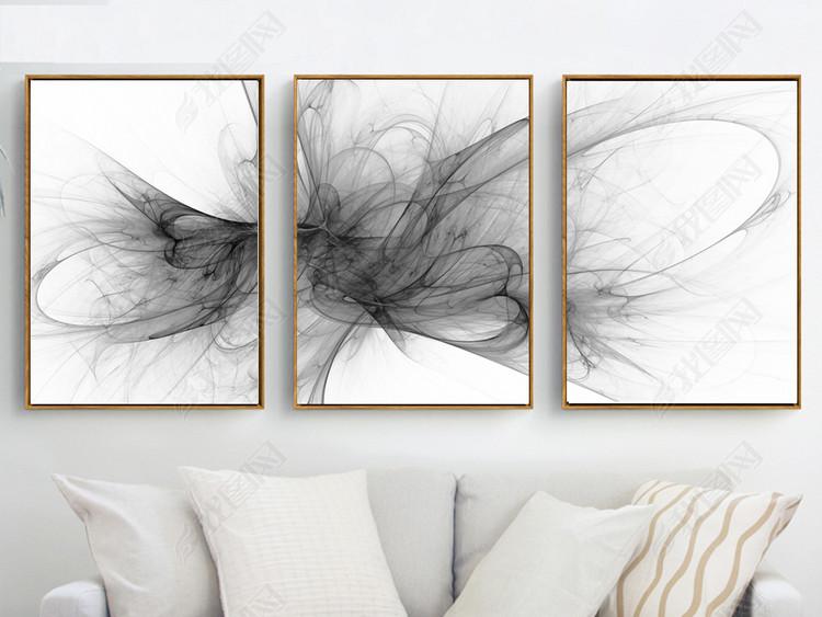 现代简约黑白抽象艺术三联装饰画
