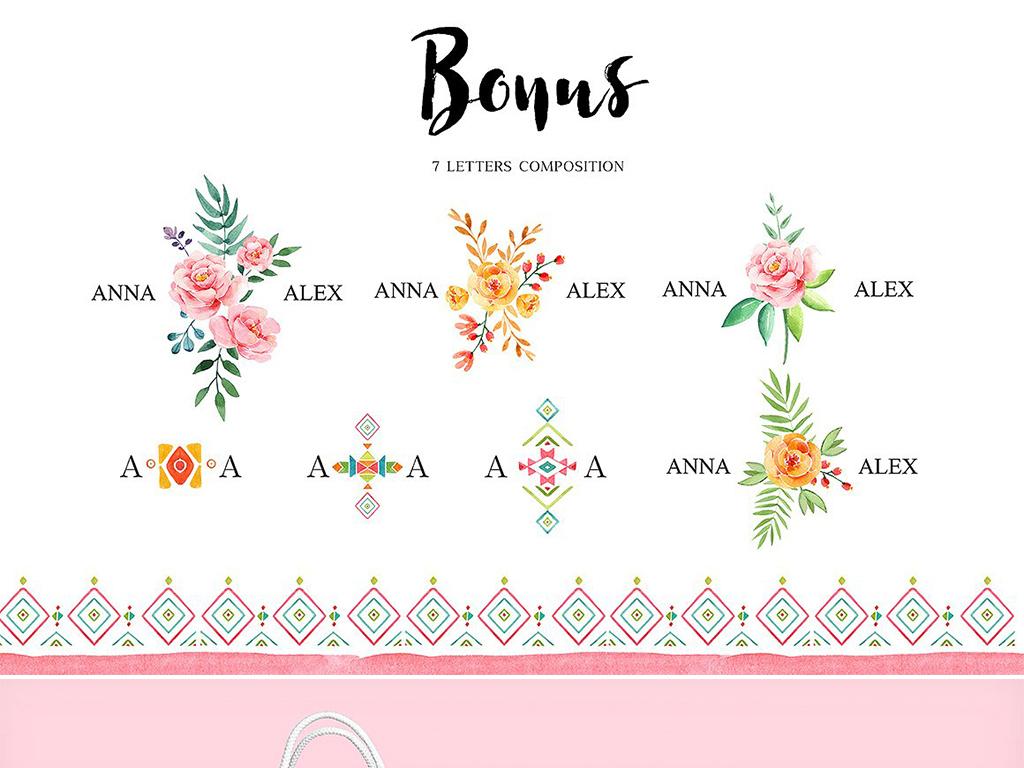 手绘水彩火烈鸟花环植物花卉卡片图案元素