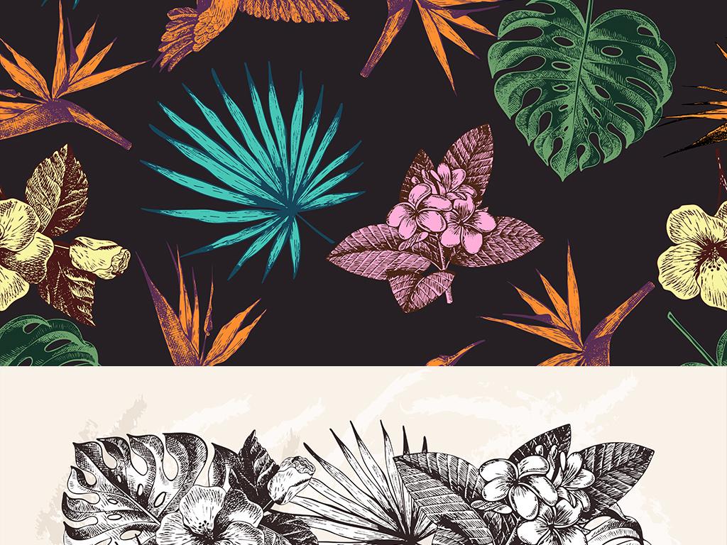 热带植物黑白线描黑白图案黑白花纹复古手绘花鸟素材植物花卉复古花鸟