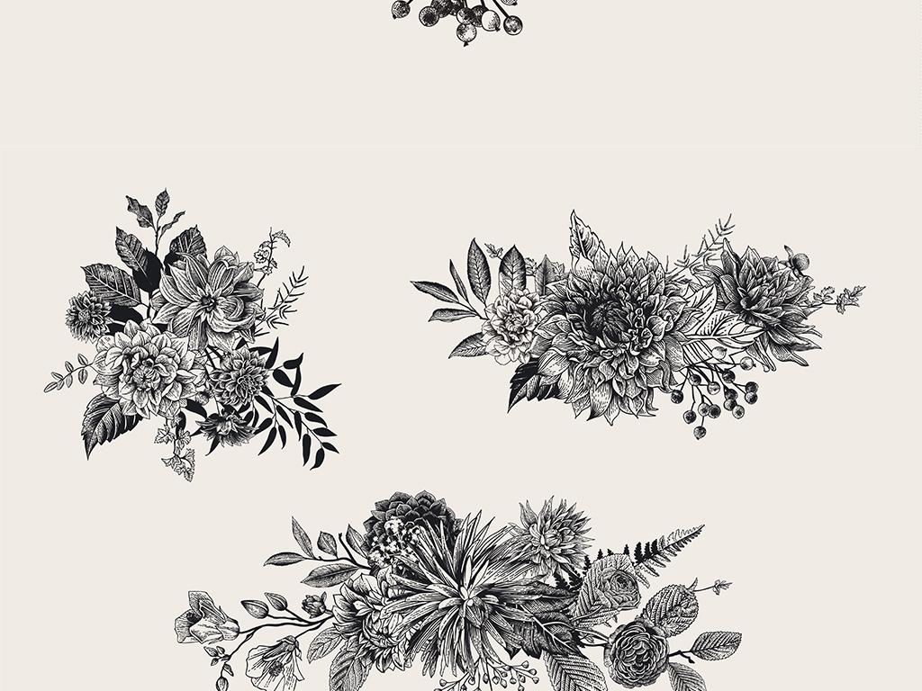 黑白手绘黑白线描花卉植物矢量设计元素