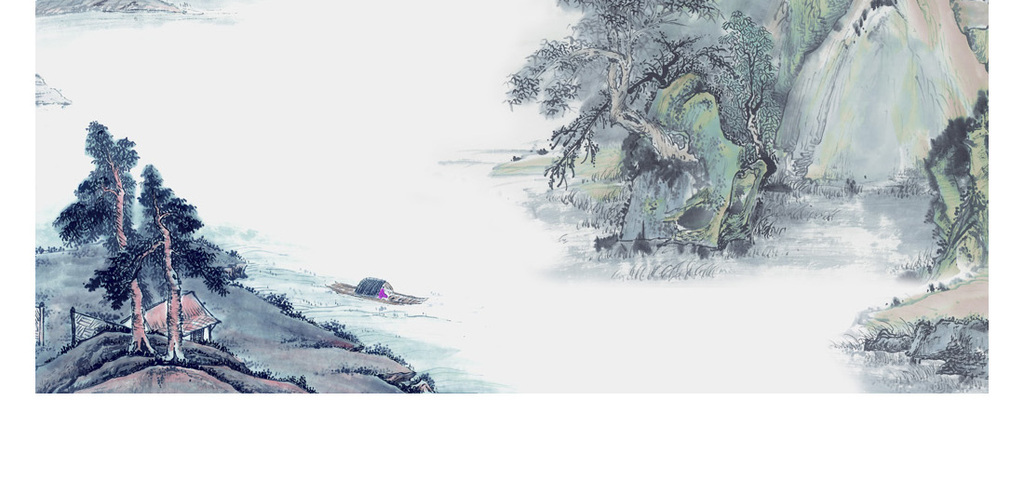 手绘古典古风水墨山水装饰画背景墙