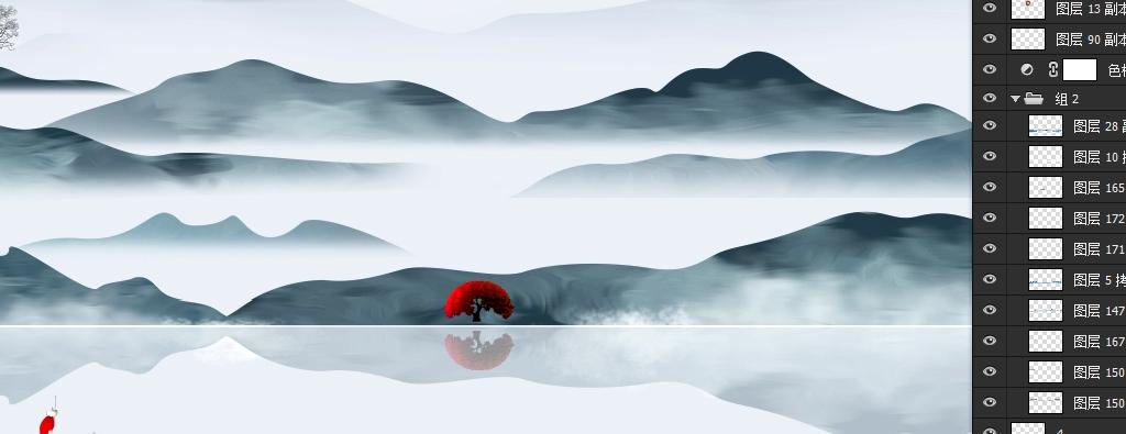 背景墙 电视背景墙 手绘电视背景墙 > 新中式山水画写意画中国风装饰