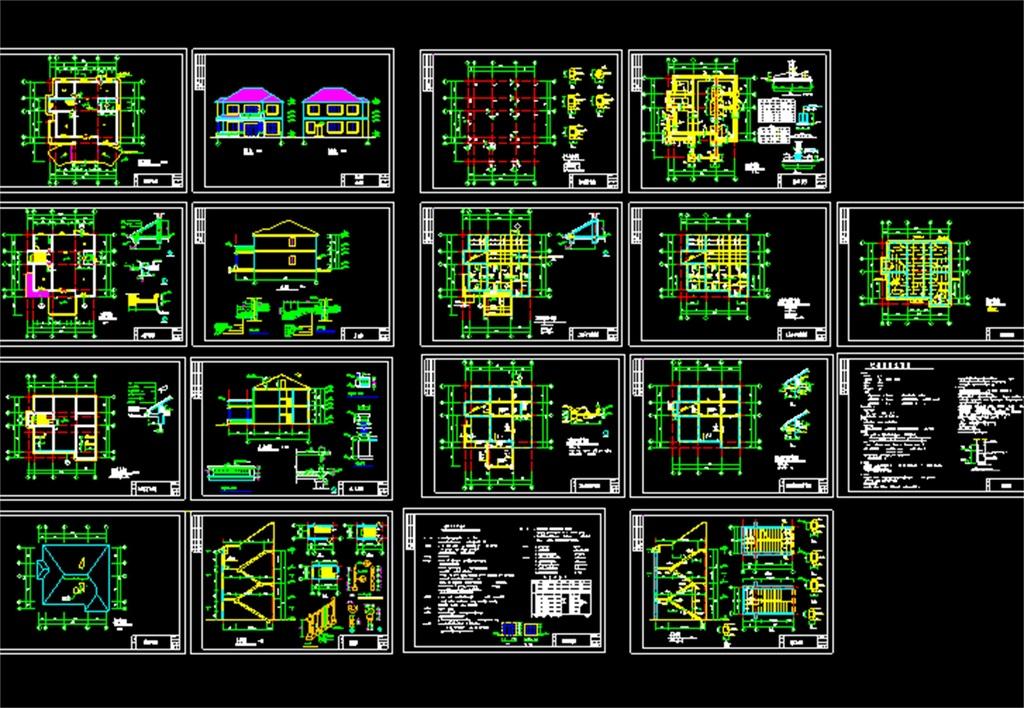 别墅CAD全套建筑结构施工图