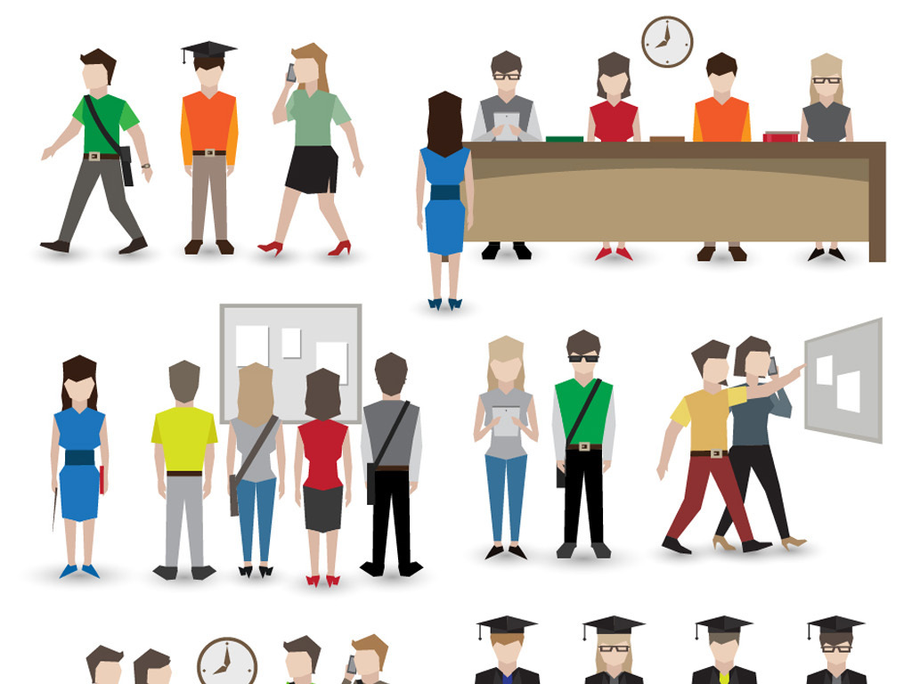 扁平化图形大学生人物上课毕业生活eps矢量图设计素材