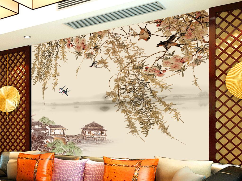手绘江南春古风时尚电视背景墙