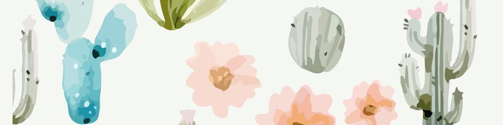 手绘水彩仙人掌沙漠植物花纹