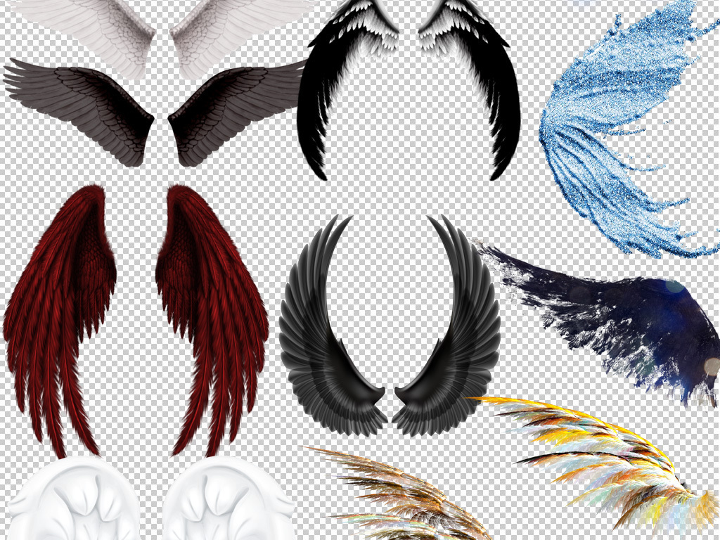 翅膀飞翔梦幻翅膀卡通翅膀彩色翅膀免抠png