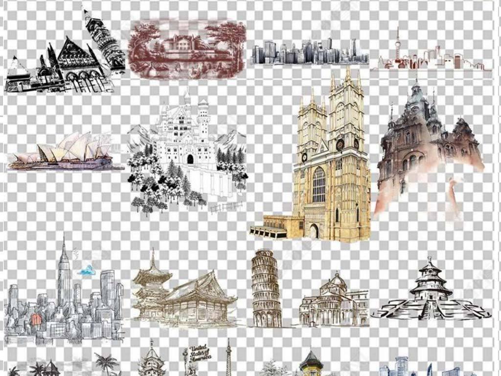 100款手绘水彩欧洲旅游海报设计素材