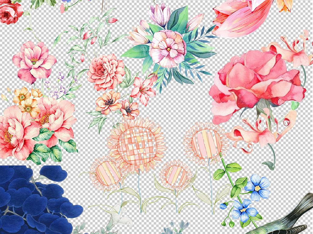 彩色手绘花花束手捧花花朵免抠png图片下载png素材