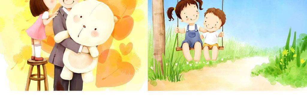 卡通全家福水彩手绘孩子亲子妈妈宝宝幼儿童