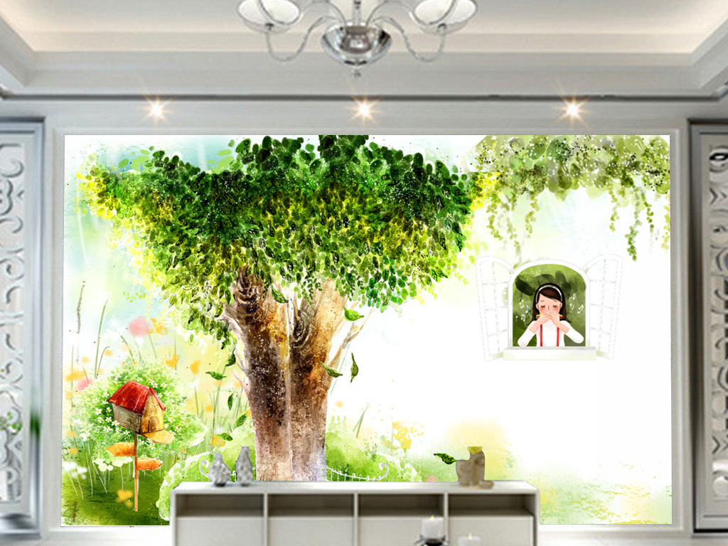 现代简约手绘童话大树