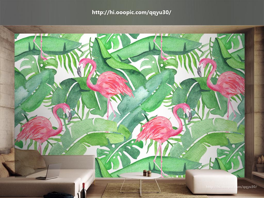 背景墙|装饰画 电视背景墙 手绘电视背景墙 > 北欧芭蕉叶龟背竹火烈鸟