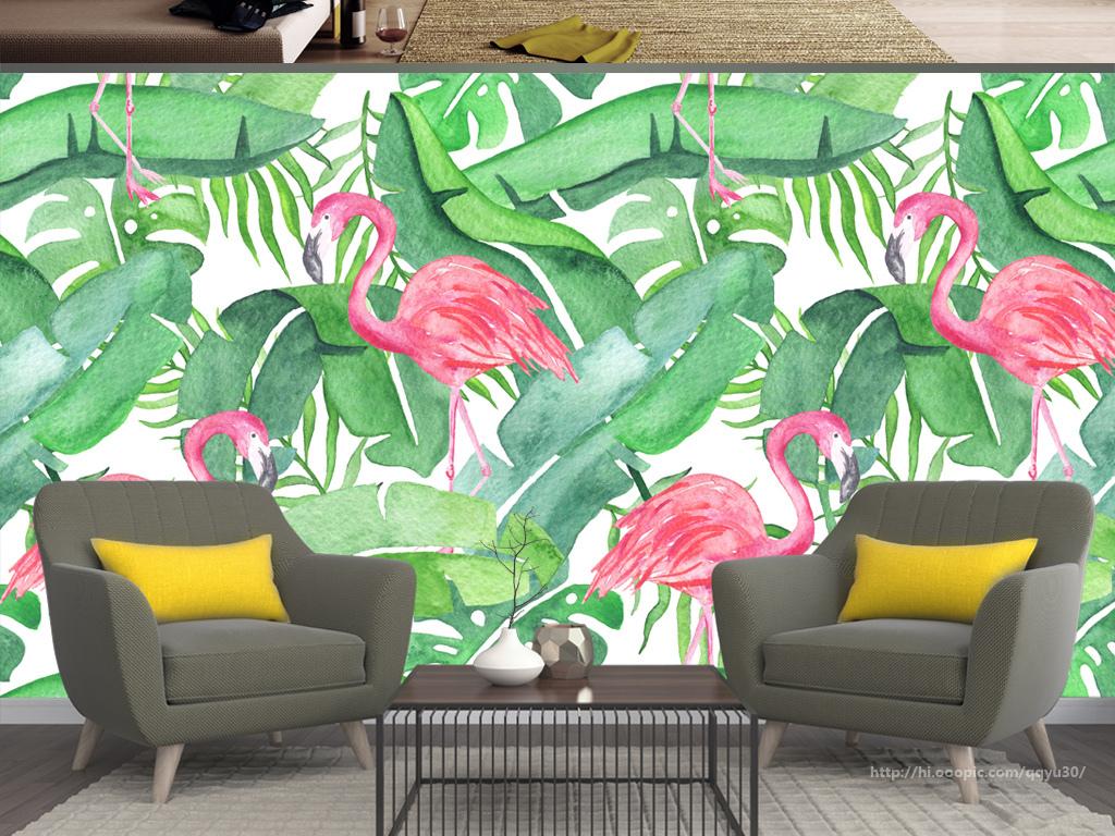 北欧芭蕉叶龟背竹火烈鸟手绘背景墙图片