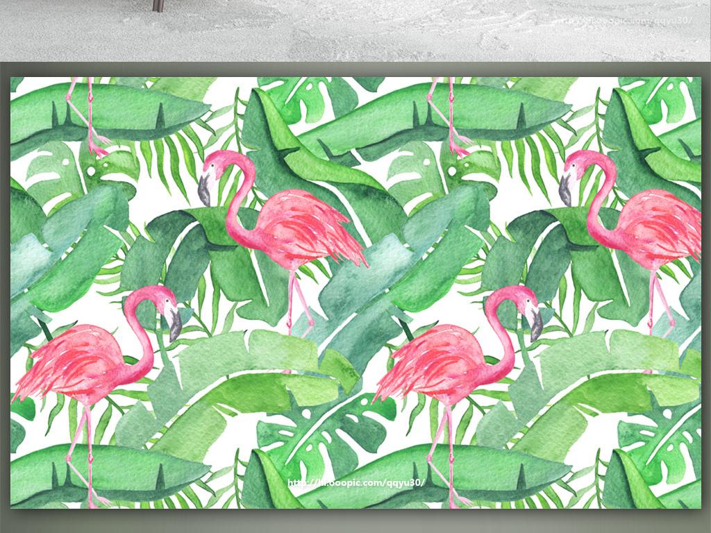 北欧芭蕉叶龟背竹火烈鸟手绘背景墙