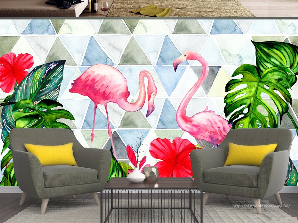 背景墙 电视背景墙 手绘电视背景墙 > 北欧热带植物几何图形火烈鸟