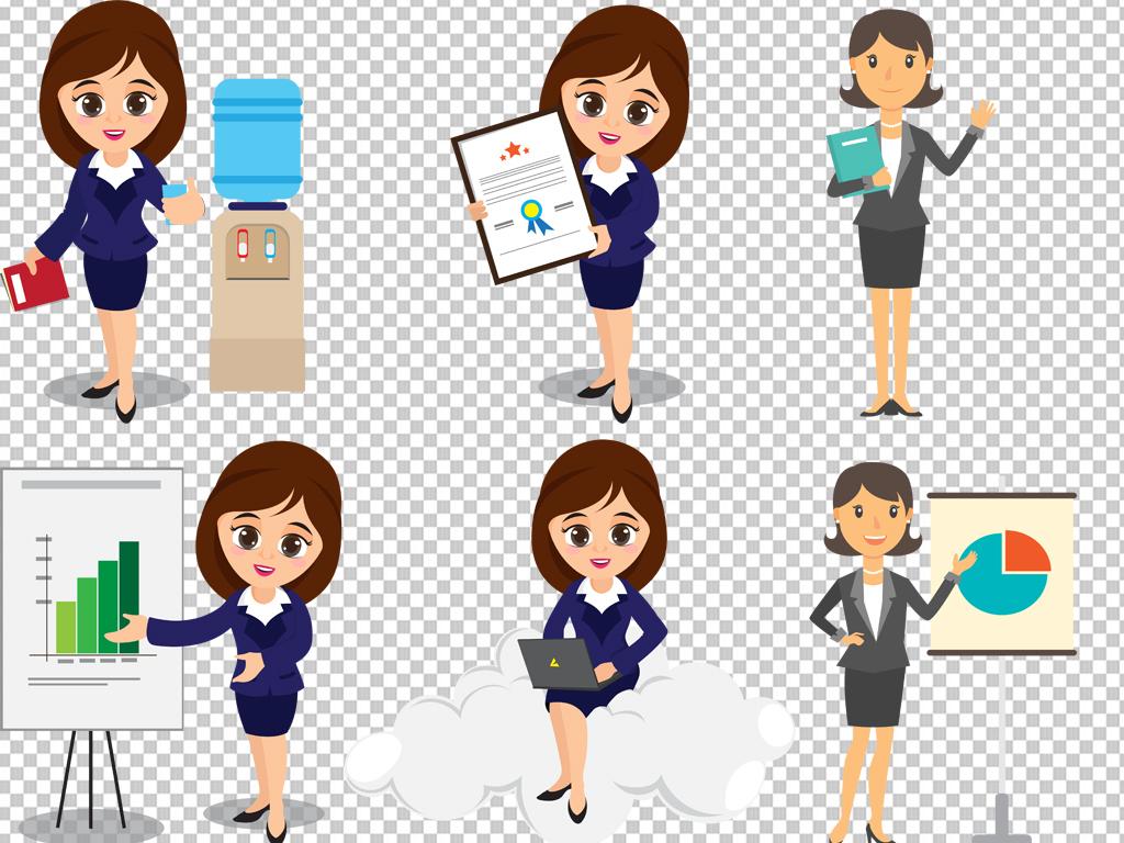 卡通商务人士办公室白领免抠素材透明元素图片