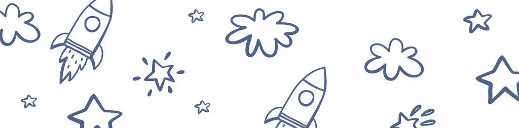 手绘简约星空火箭太空元素