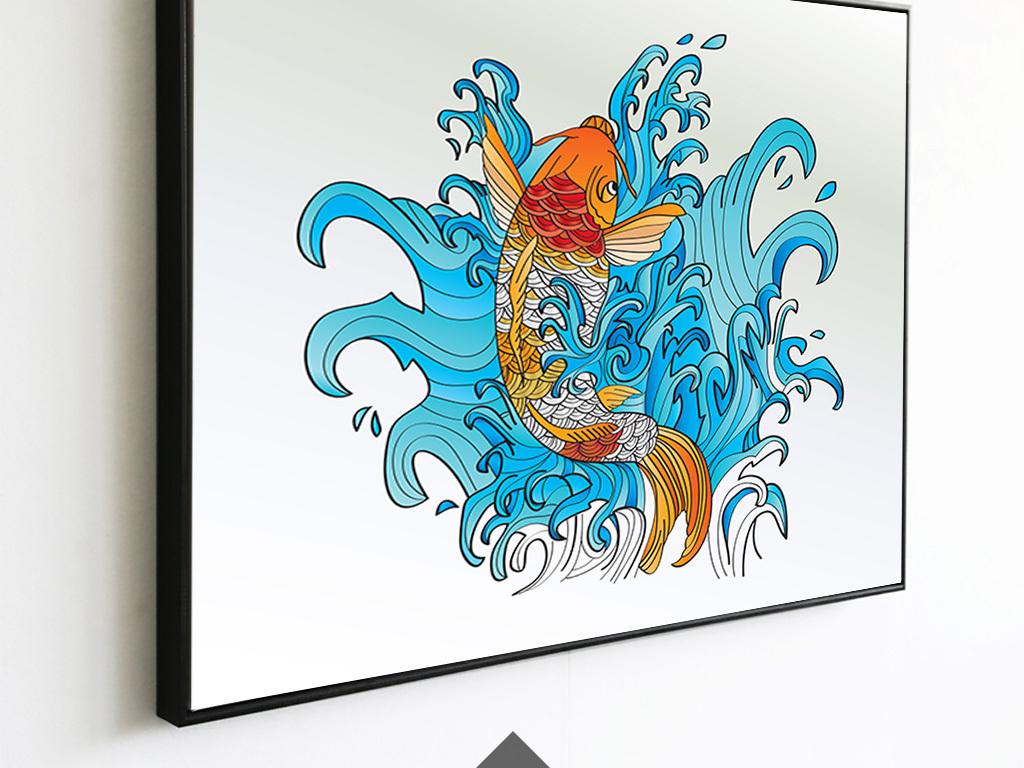 新中式手绘锦鲤客厅装饰画