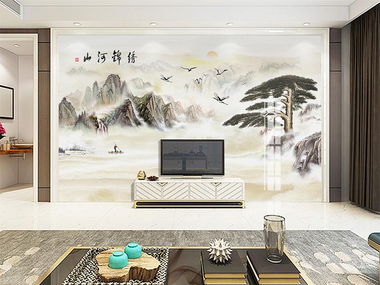 新中式水墨山水大理石纹理背景墙青松迎客