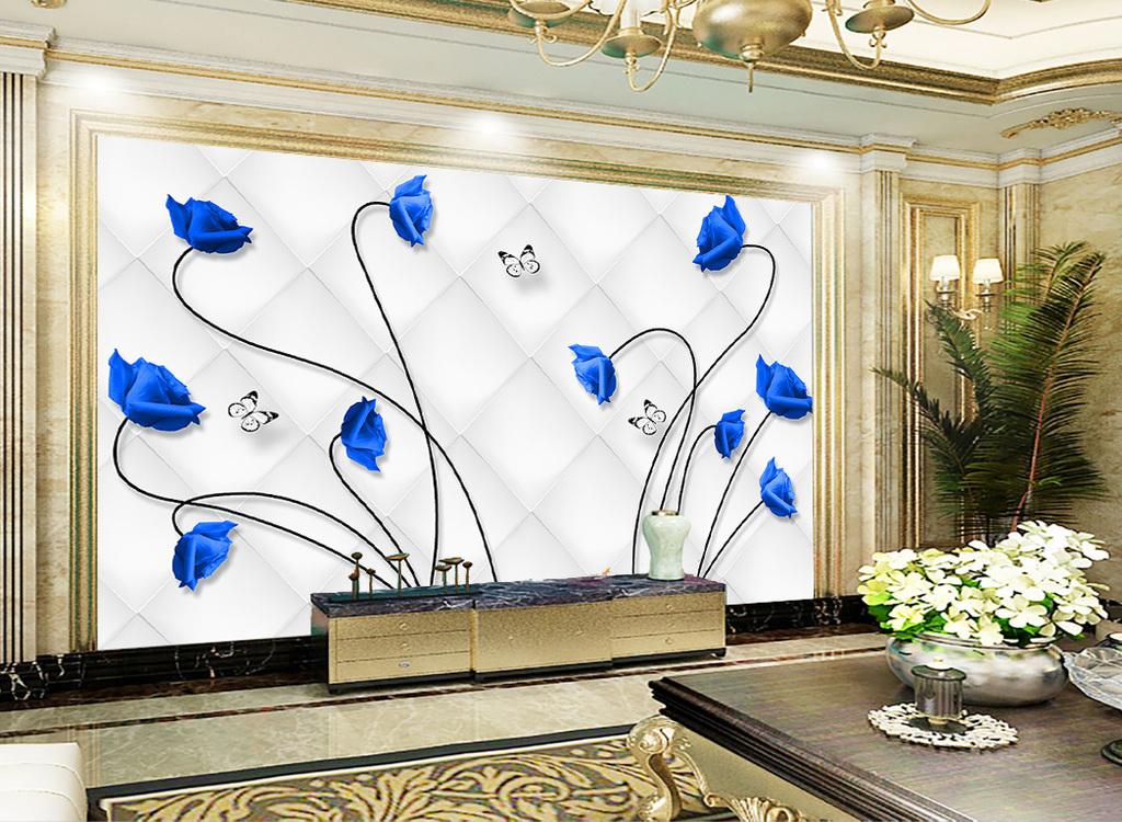 欧式现代简约软包玫瑰花朵客厅背景墙壁画图片
