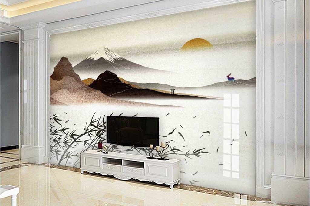 背景墙|装饰画 电视背景墙 手绘电视背景墙 > 复古富士山下羚羊山脉