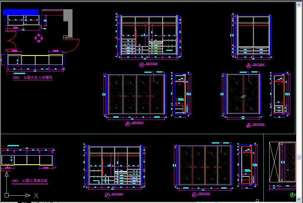 cad图库 室内设计cad图库 cad图纸 > 标准衣柜cad设计图集  版权图片
