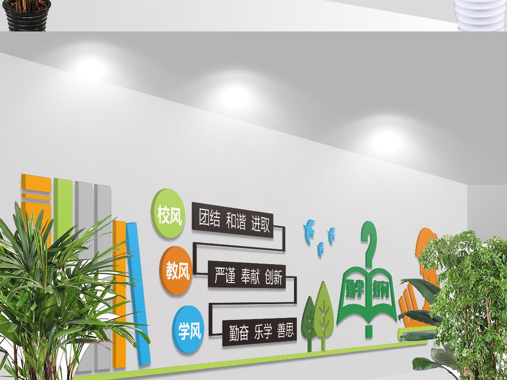 学校教室走廊文化墙矢量模板设计图片 高清 矢量图下载 效果图1.12MB