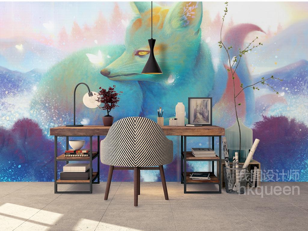 现代简约手绘抽象狐狸梦幻风景儿童房背景墙