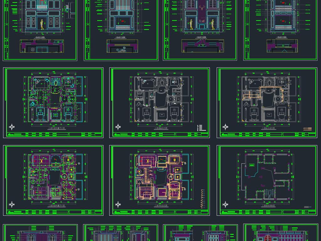 别墅样板房家装CAD施工图效果图平面设计图下载 图片48.99MB 节点